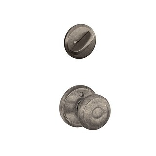 Schlage F59 GEO 621 Georgian Interior Knob With Deadbolt, Distressed Nickel