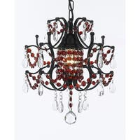 Iron and Crystal Plug In Chandelier With Red Crystal