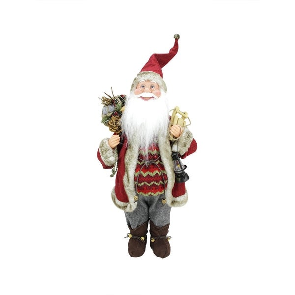 "18"" Bundled Up Standing Santa Claus Christmas Figure with Snow Sled and Lantern"