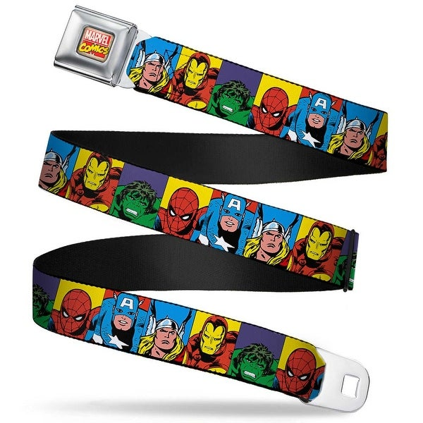 Marvel Comics Marvel Comics Logo Full Color Marvel Superhero Blocks Multi Seatbelt Belt