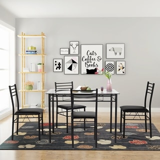Vecelo Gl Dining Table Sets With 4 Chairs Kitchen Free Shipping Today 13023443