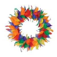 Pack of 6 Rainbow Colored Decorative Feather Wreath 12""