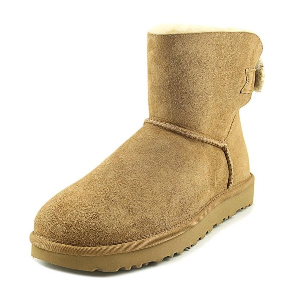 Ugg Australia Mini Bailey Knit Bow Women Round Toe Suede Brown Winter Boot