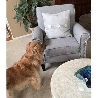 Shop Handy Living Jean Dove Grey Linen Arm Chair On Sale