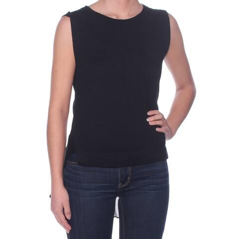 THEORY Womens Black Sheer Sleeveless Jewel Neck Top Size S