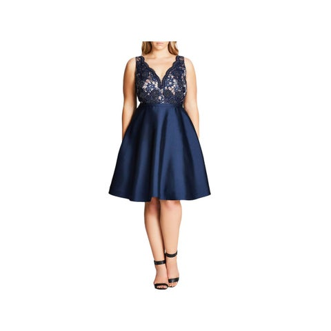 City Chic Womens Plus Alessandra Cocktail Dress Lace Party