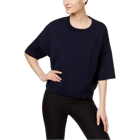 DKNY Womens Mixed Media Basic T-Shirt, Blue, P