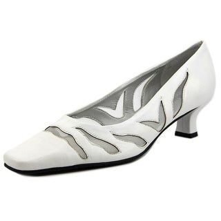 Vaneli Racilia Women Square Toe Leather White Heels