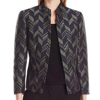 Kasper NEW Black Women's Size 16 Chevron Jacquard Stand Collar Jacket