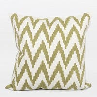 """G Home Collection Luxury Green Big Chevron Pattern Embroidered Pillow 20""""X20"""""""