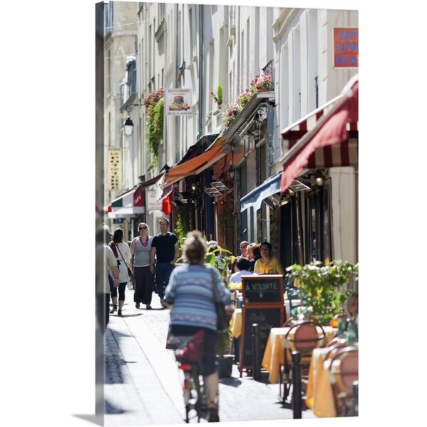 """Street cafes near Notre Dame"" Canvas Wall Art"