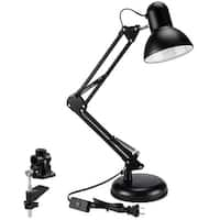 Swing Arm Desk Lamp, Interchangeable Base Or Clamp, Folding Metal Arm