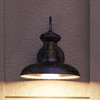 """Luxury Industrial Chic Outdoor Wall Light, 10.75""""H x 10""""W, with Nautical Style Elements, Olde Iron Finish by Urban Ambiance"""
