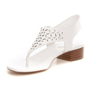 MICHAEL Michael Kors Womens London thong Leather Open Toe Casual T-Strap  Sand.