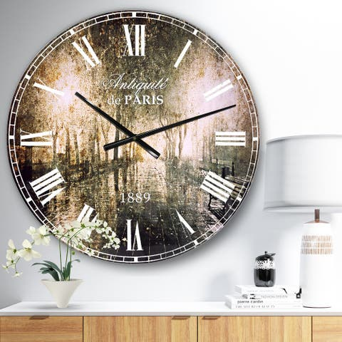 Designart 'Night Alley with Lights' Photography Landscape Large Wall CLock