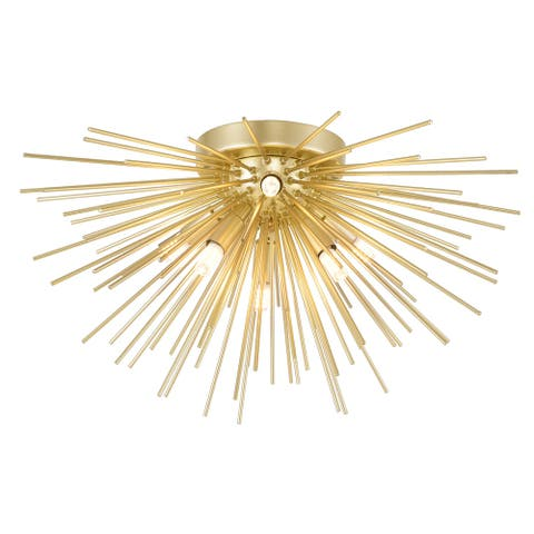 Savannah 6 Light Flush Mount with Gold Leaf Finish