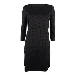Tahari ASL Women's Tiered Polka-Dot Sheath Dress - Black