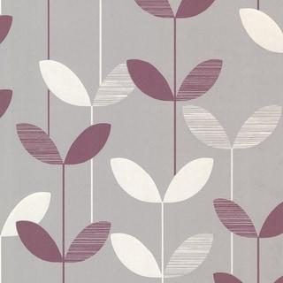 Brewster 2533-20200 Ernst Purple Linear Leaf Wallpaper