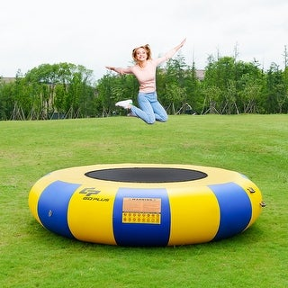 Goplus 10ft Inflatable Water Bounce Platform Jump Floated Water Trampoline Water Sport