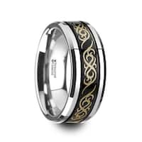 RAIZEN Black Tungsten Carbide Wedding Ring with Dual Offset Grooves and Laser Engraved Celtic Pattern Polished and Beveled Edges