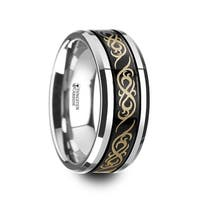 Raizen Black Tungsten Carbide Wedding Ring With Dual Offset Grooves And Laser Engraved Celtic Pattern Polished