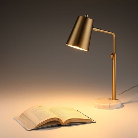 CO-Z 20-inch Adjustable Gold Desk Lamp with Marble Base - Antique Brass