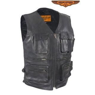 Mens Leather Cargo Vest - Size - M