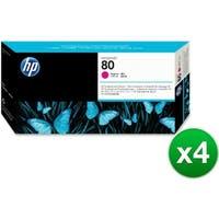 HP 80 Magenta DesignJet Printhead & Printhead Cleaner (C4822A) (4-Pack)