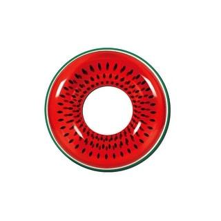 "42"" Red Watermelon Fruit Inflatable Swimming Pool Inner Tube Ring Float - Black"