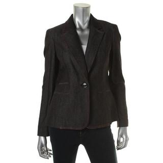 Nine West Womens Denim Long Sleeves One-Button Blazer - 14
