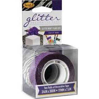 "Purple & Zebra - Le Page's Seal-It Glitter Tape .75""X300"" 2/Pkg"
