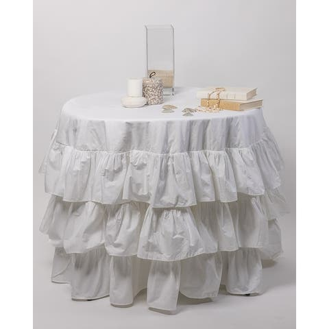 Cottage Home Petite Ruffle Linen Round Tablecloth