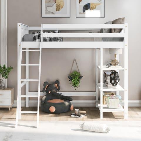 Nestfair Twin Size Loft Bed with Storage Shelves