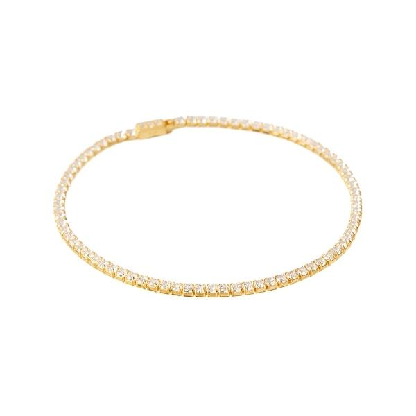 Cubic Zirconia & Gold Tennis Bracelet