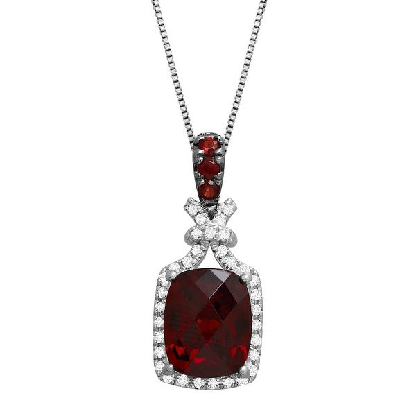 3 1/2 ct Natural Garnet & White Topaz Pendant in Sterling Silver - Red