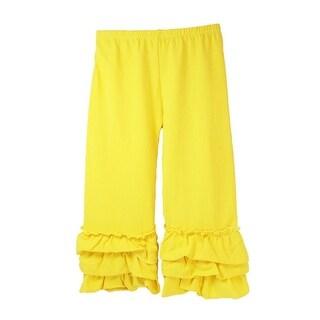 Girls Yellow Triple Tier Ruffle Cuffed Cotton Spandex Pants 12M-6