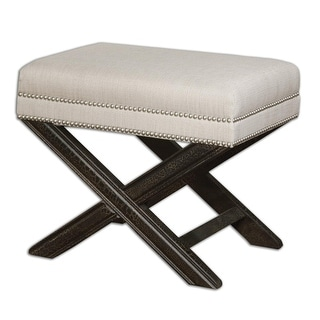 """24"""" LeBeau Sandy White, Silver Studded Trim & Crackled Black Small Bench"""