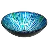 Eden Bath Blue and Green Magnolia Glass Vessel Sink