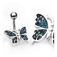 "Navel Belly Button Ring Blue Butterfly with Banana - 14GA 3/8"" Long"