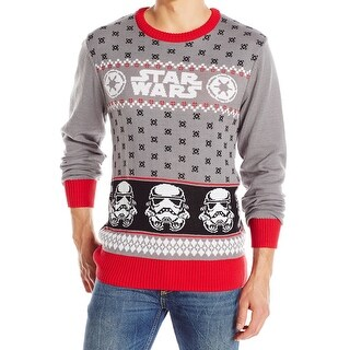 Star Wars Gray Mens Size XL Holiday Crewneck Pullover Sweater