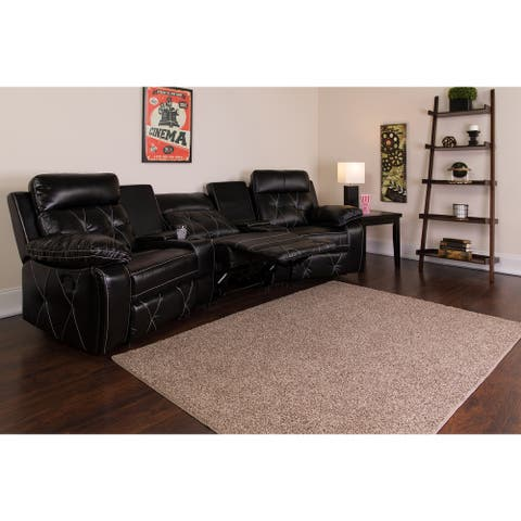 """3-Seat Reclining LeatherSoft Theater Seating Unit - 117""""W x 37"""" - 66""""D x 40""""H"""