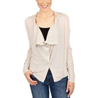 Lucky Brand Womens Cardigan Sweater Draped Long Sleeves