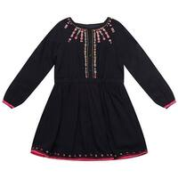 Richie House Baby Girls Navy Cotton Ethnic Floral Embroidered Dress 24M