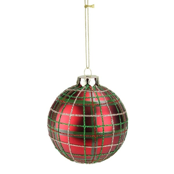 """Green, Red and Gold Plaid Glass Ball Christmas Ornament 3.25"""" (80mm) - green"""