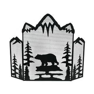 Mountain Bear Black Metal Mesh 3 Panel Fireplace Screen