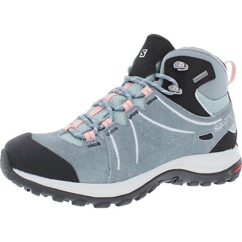 Salomon Womens Ellipse 2 Mid LTR GTX Hiking Boots Suede Trail - Lead/Stormy Weather/Coral Almond - 5 Medium (B,M)