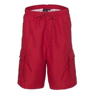 Burnside Striped Swim Trunks - Red/ Red - L