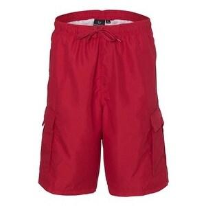 Burnside Striped Swim Trunks - Red/ Red - S