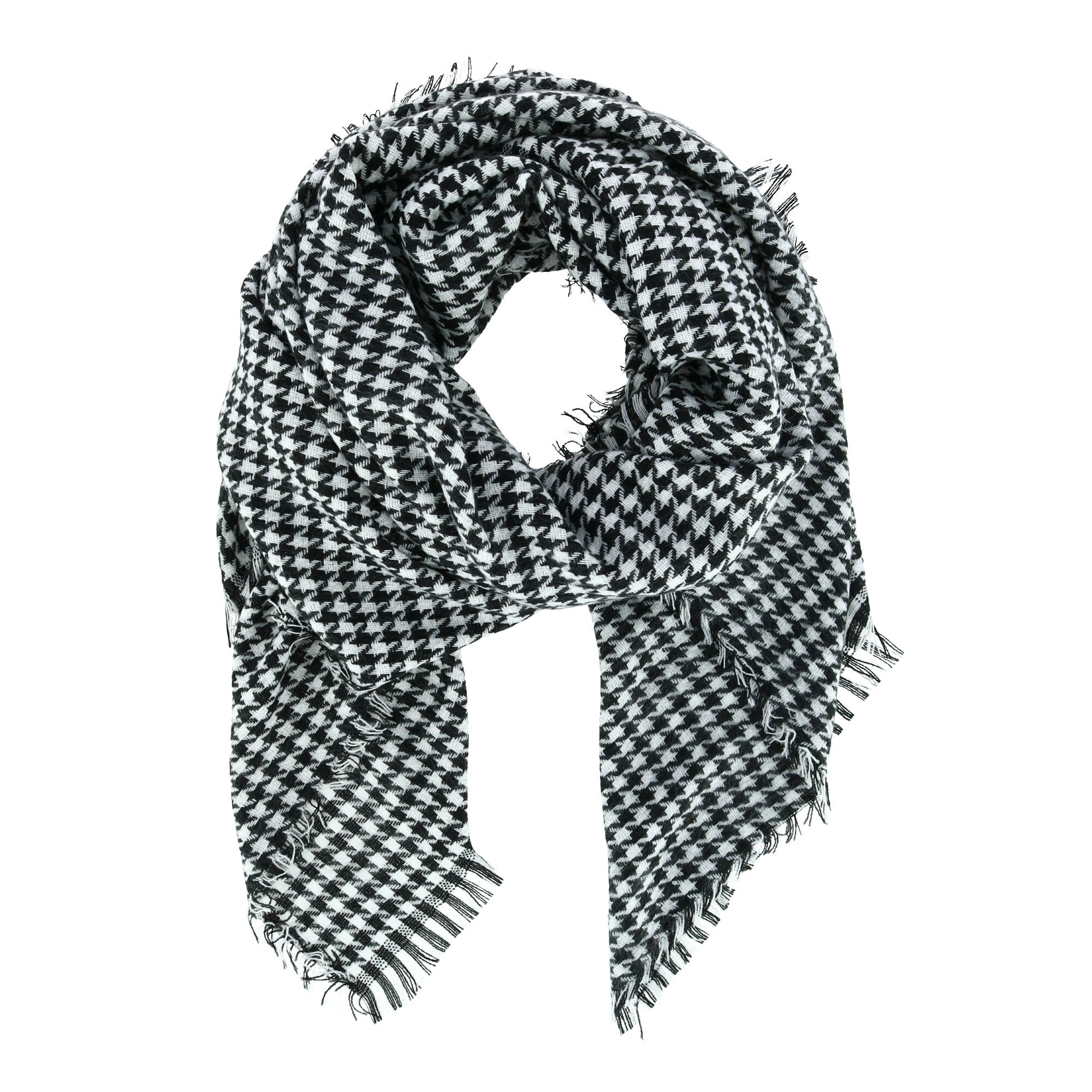 Ctm Women S Houndstooth Convertible Square Blanket Scarf Black White One Size Overstock 31964893