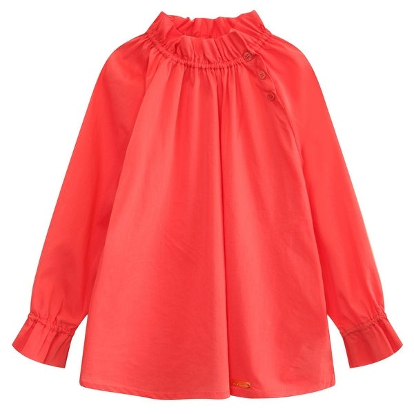 Richie House Baby Girls Magenta Pleated Collar Long Sleeve Pullover Shirt 24M - 24 months